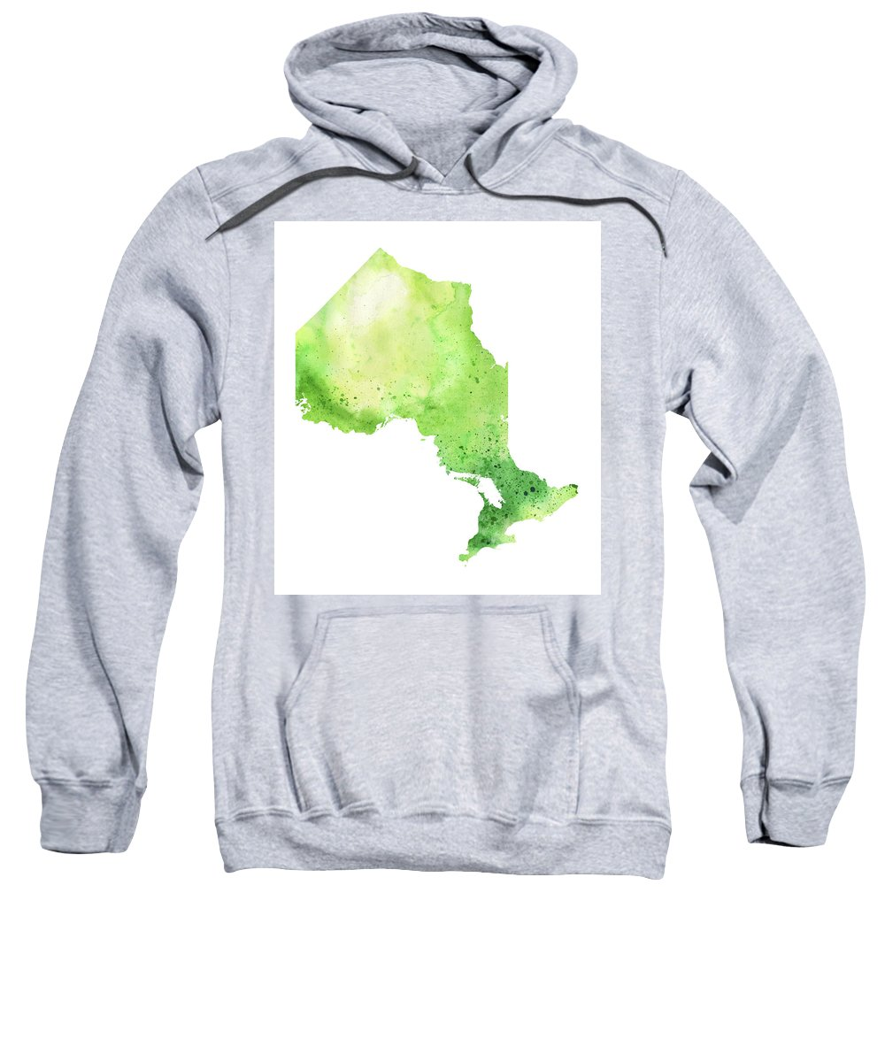 Canada Sweatshirt featuring the painting Watercolor Map Of Ontario, Canada In Green by Andrea Hill