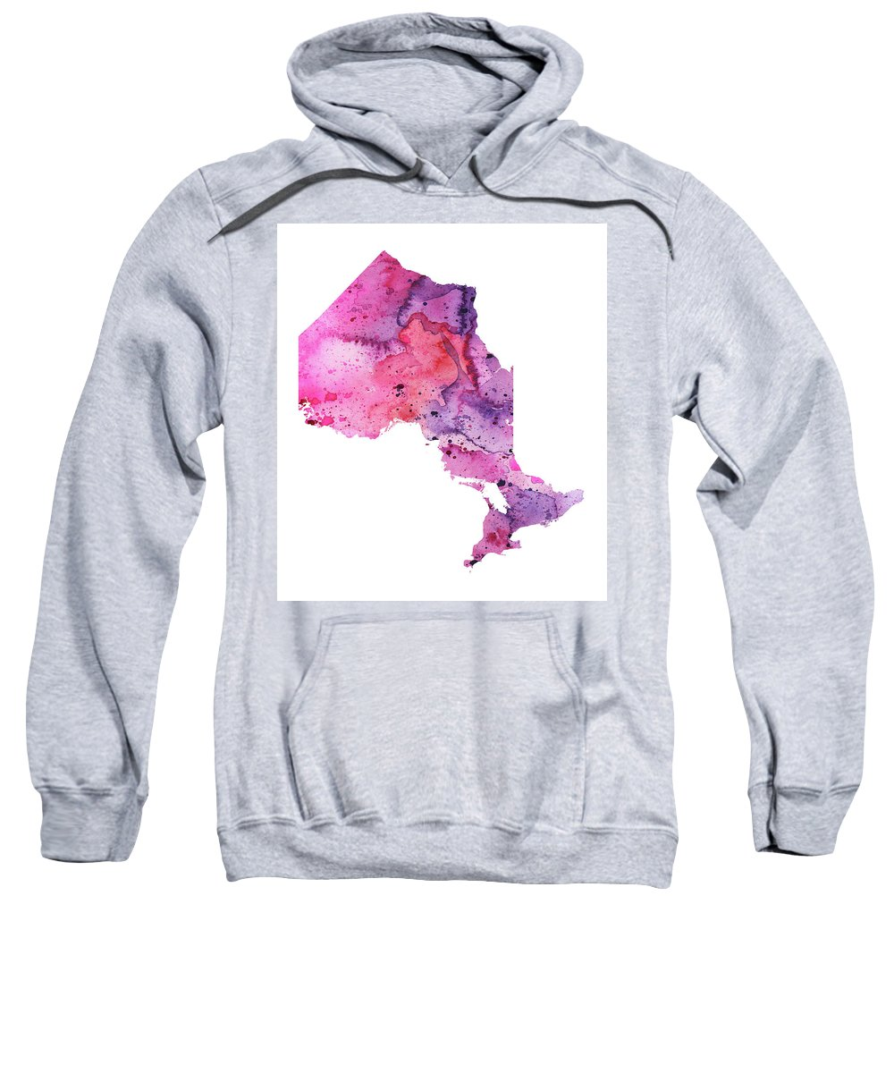 Canada Sweatshirt featuring the painting Watercolor Map Of Ontario, Canada In Pink And Purple by Andrea Hill