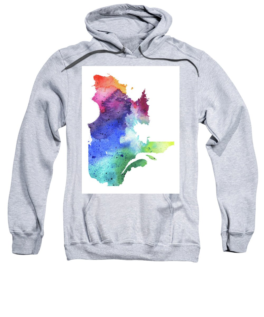 Canada Sweatshirt featuring the painting Watercolor Map Of Quebec, Canada In Rainbow Colors by Andrea Hill