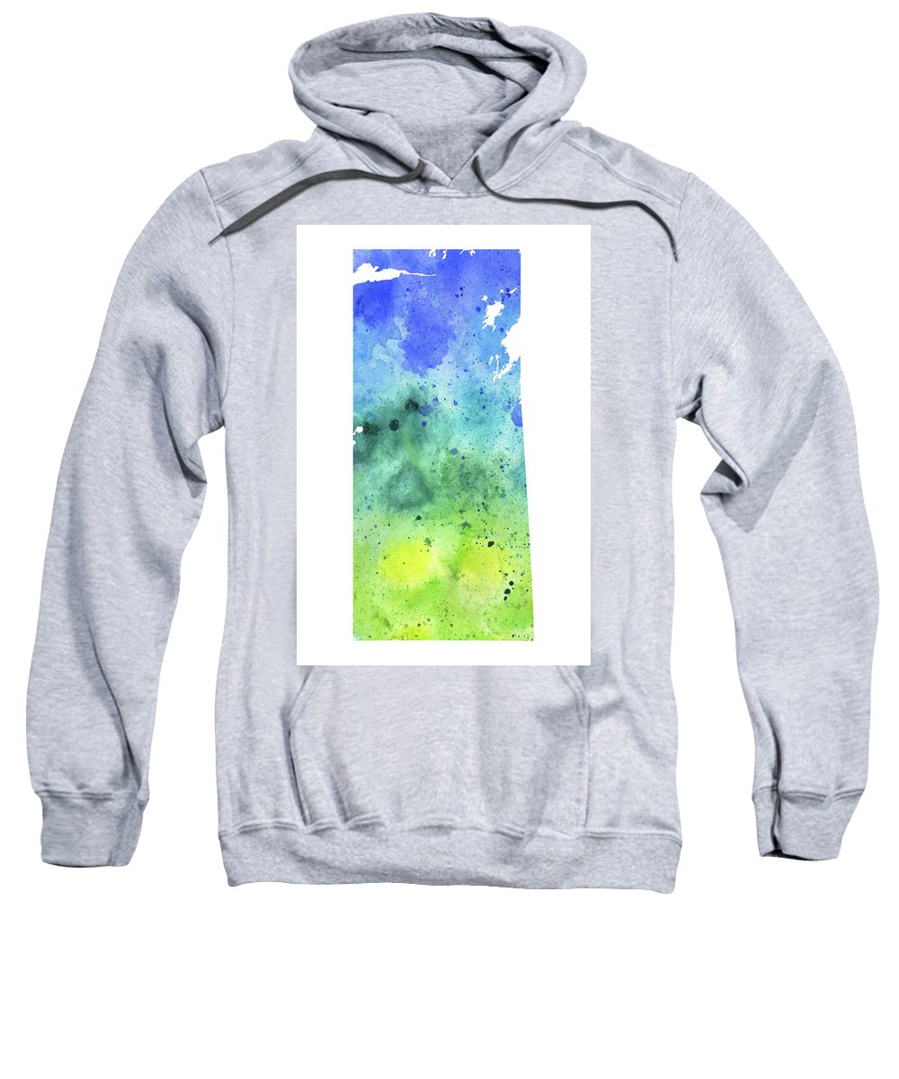 Canada Sweatshirt featuring the painting Watercolor Map Of Saskatchewan, Canada In Blue And Green by Andrea Hill