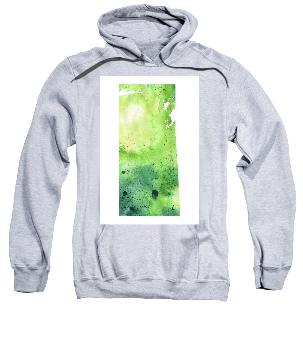 Canada Sweatshirt featuring the painting Watercolor Map Of Saskatchewan, Canada In Green by Andrea Hill