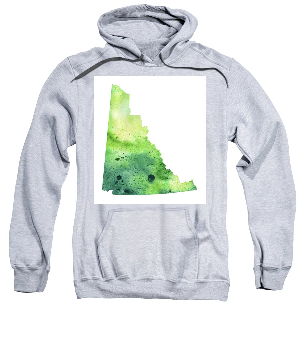 Canada Sweatshirt featuring the painting Watercolor Map Of Yukon, Canada In Green by Andrea Hill
