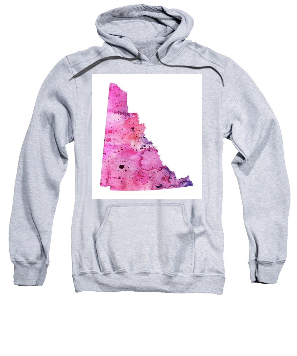 Canada Sweatshirt featuring the painting Watercolor Map Of Yukon, Canada In Pink And Purple by Andrea Hill