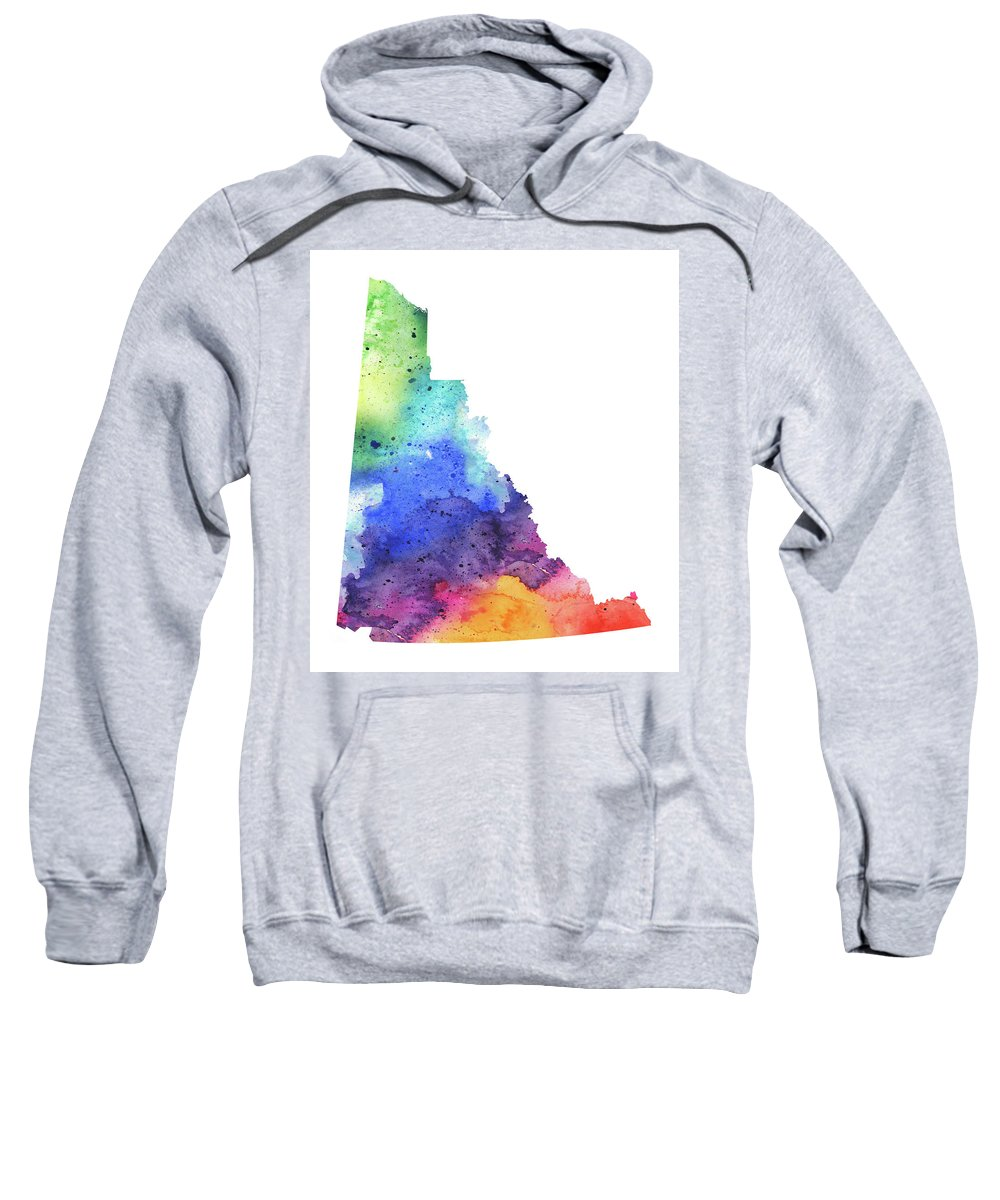 Canada Sweatshirt featuring the painting Watercolor Map Of Yukon, Canada In Rainbow Colors by Andrea Hill