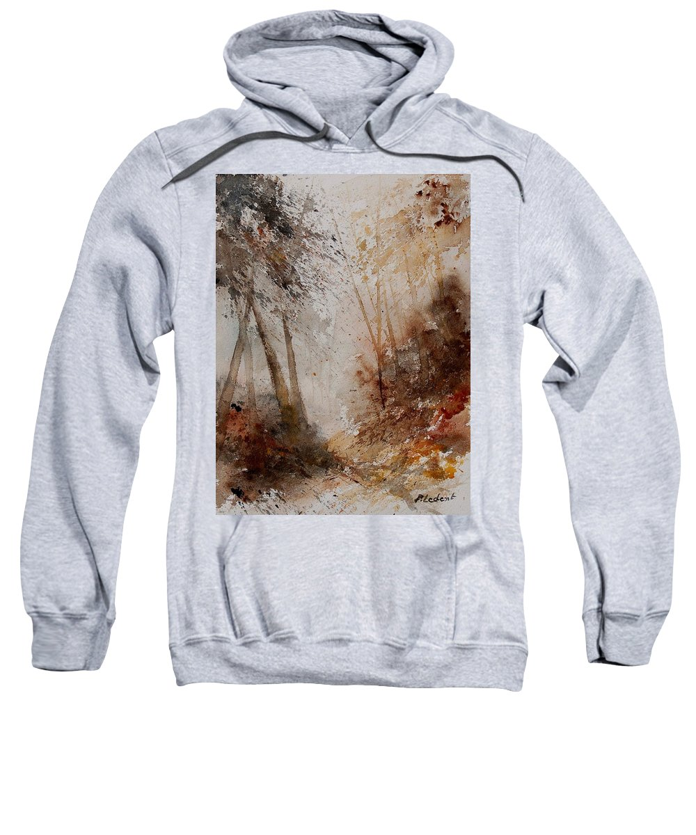 Landscape Sweatshirt featuring the painting Watercolor Misty Path by Pol Ledent
