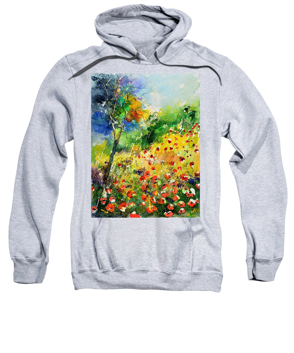 Poppies Sweatshirt featuring the painting Watercolor poppies 518001 by Pol Ledent