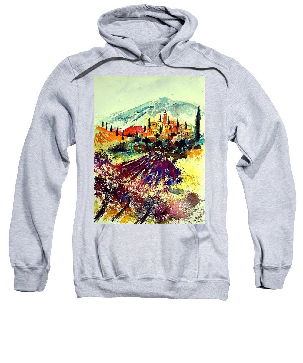 Poppies Sweatshirt featuring the painting Watercolor Provence 07 by Pol Ledent