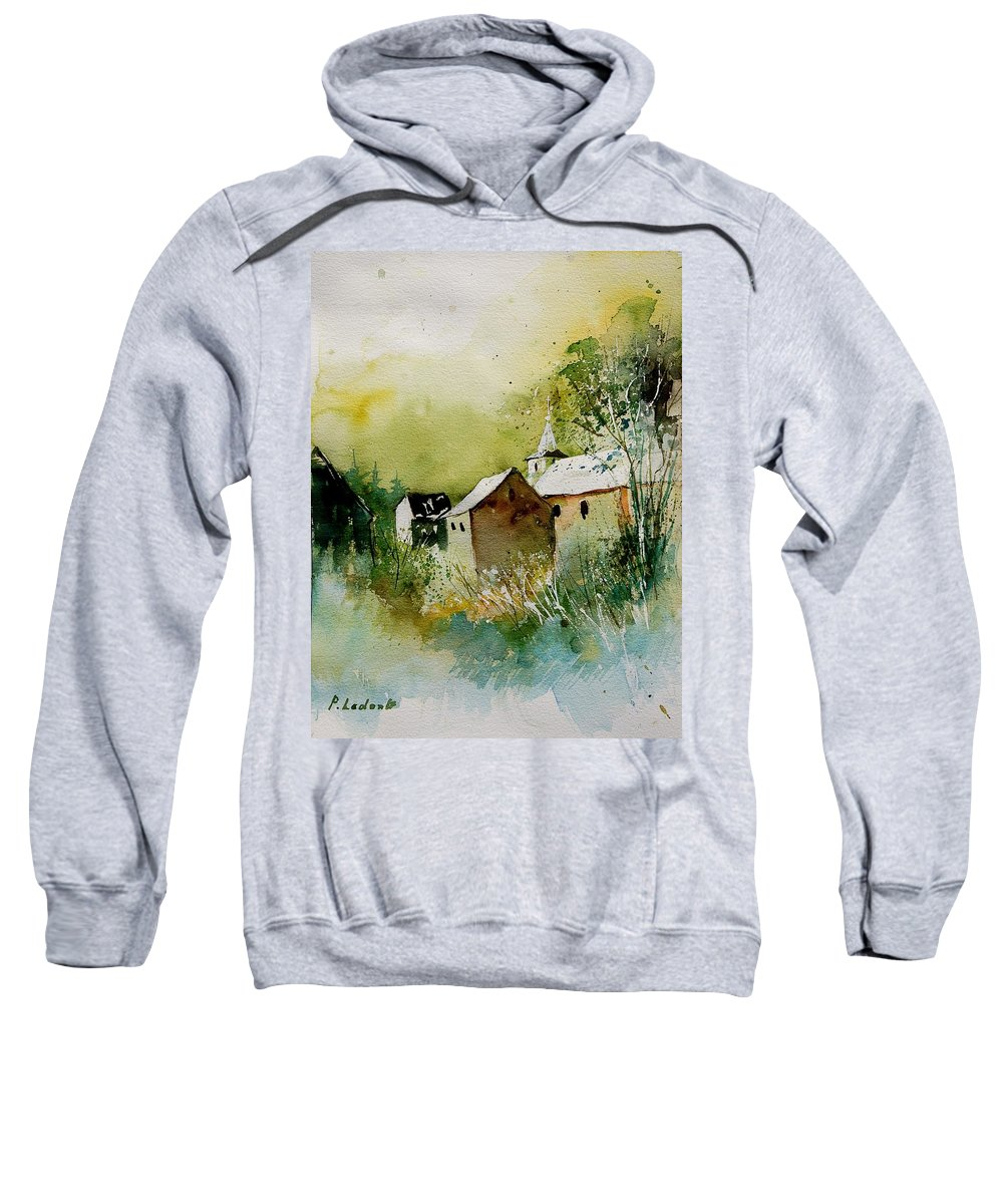 Landscape Sweatshirt featuring the painting Watercolor Sosoye by Pol Ledent