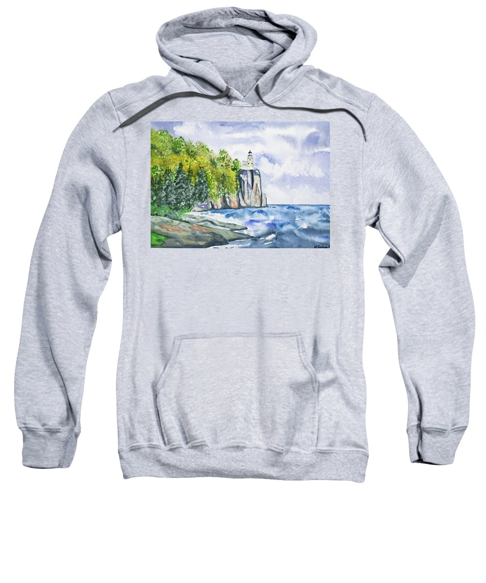 Lighthouse Sweatshirt featuring the painting Watercolor - Split Rock Lighthouse by Cascade Colors