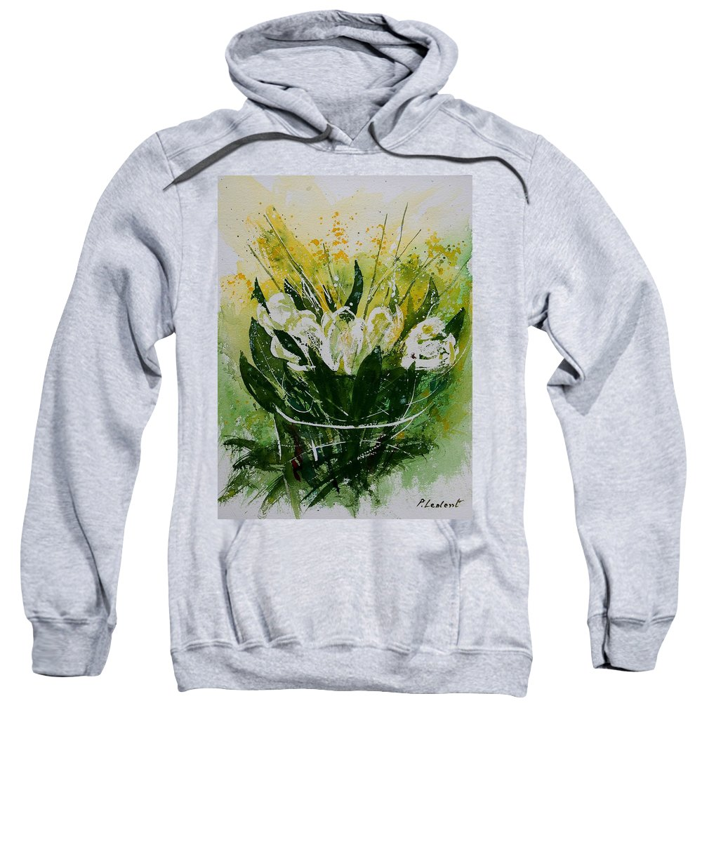 Flowers Sweatshirt featuring the painting Watercolor Tulips by Pol Ledent