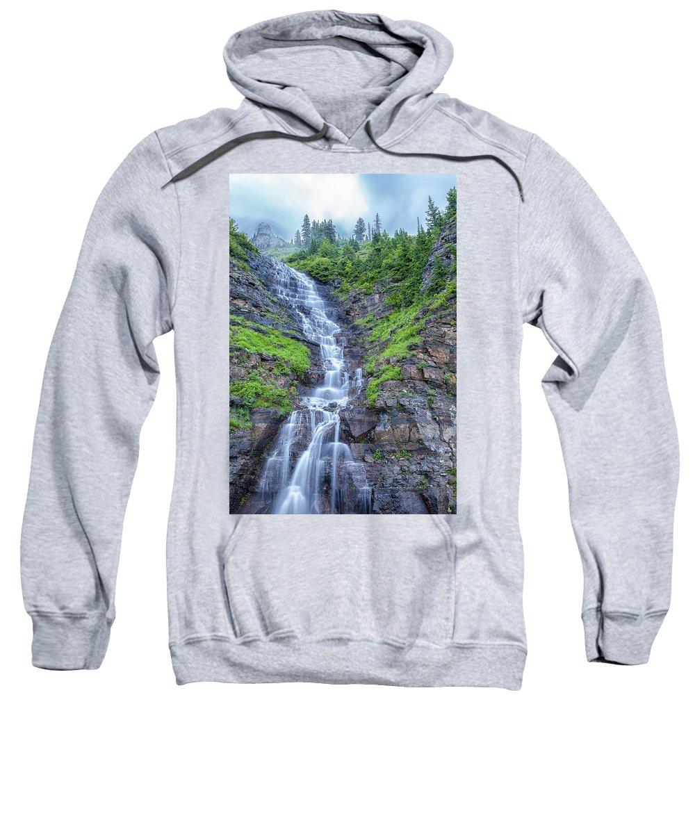 Garden Wall Sweatshirt featuring the photograph Waterfall Below The Garden Wall by Blake Passmore