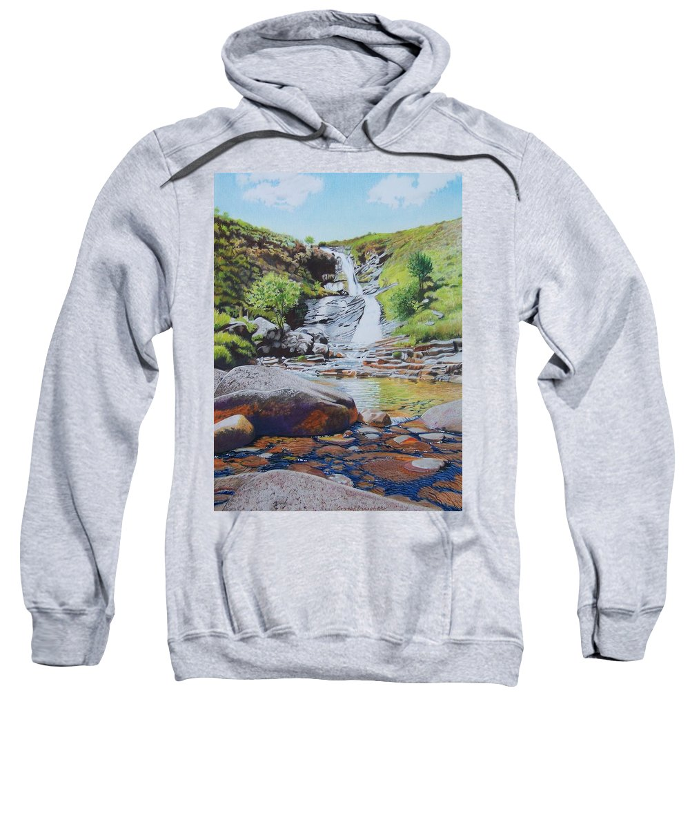 Waterfall Sweatshirt featuring the mixed media Waterfall On Skye 2 by Constance Drescher