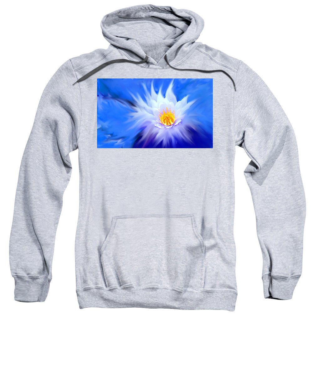 Blue Sweatshirt featuring the digital art Waterlillies Transformed by Ian MacDonald