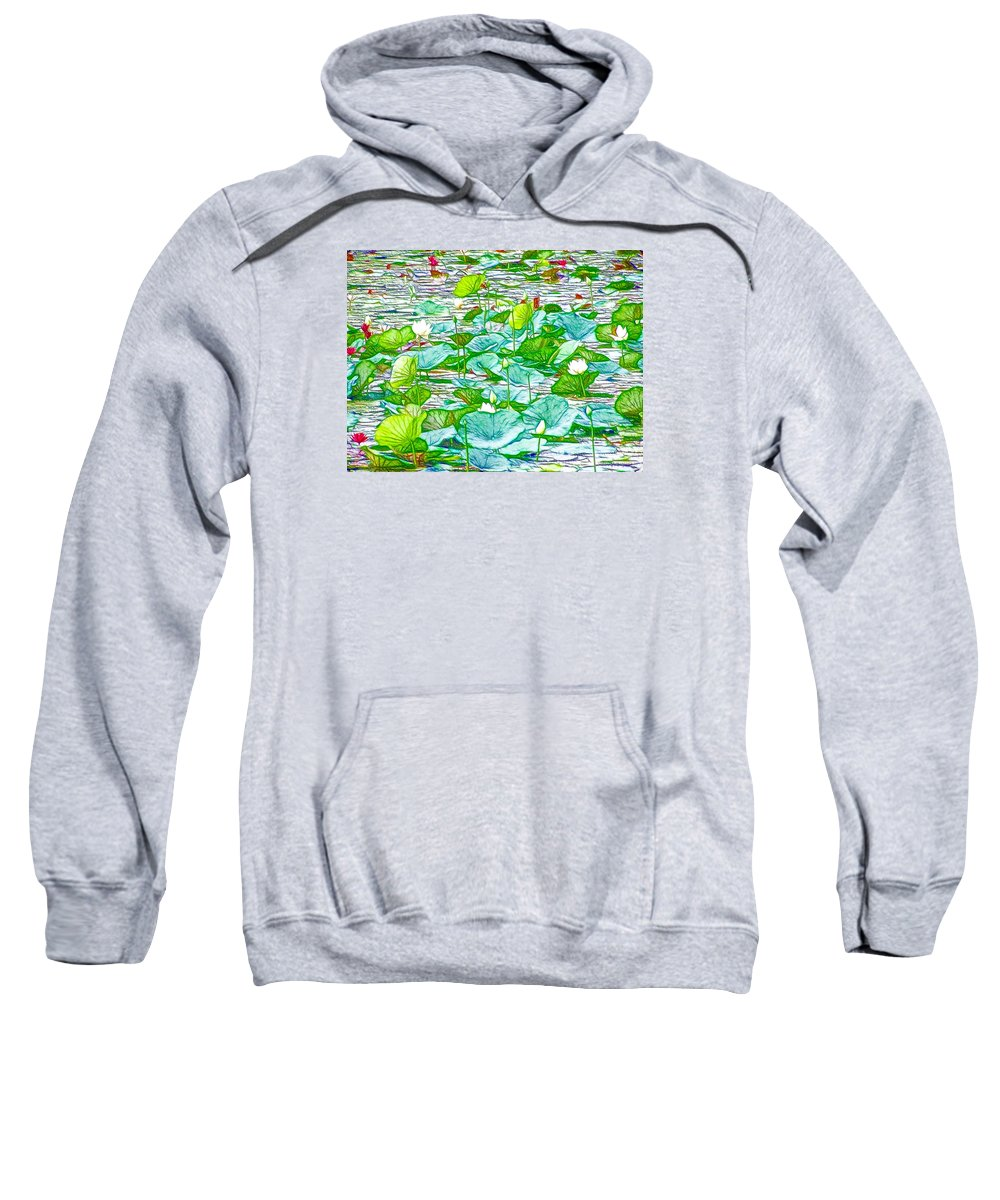 Pink Lotus Flower Sweatshirt featuring the painting Waterlily Blossoms On The Protected Forest Lake by Jeelan Clark
