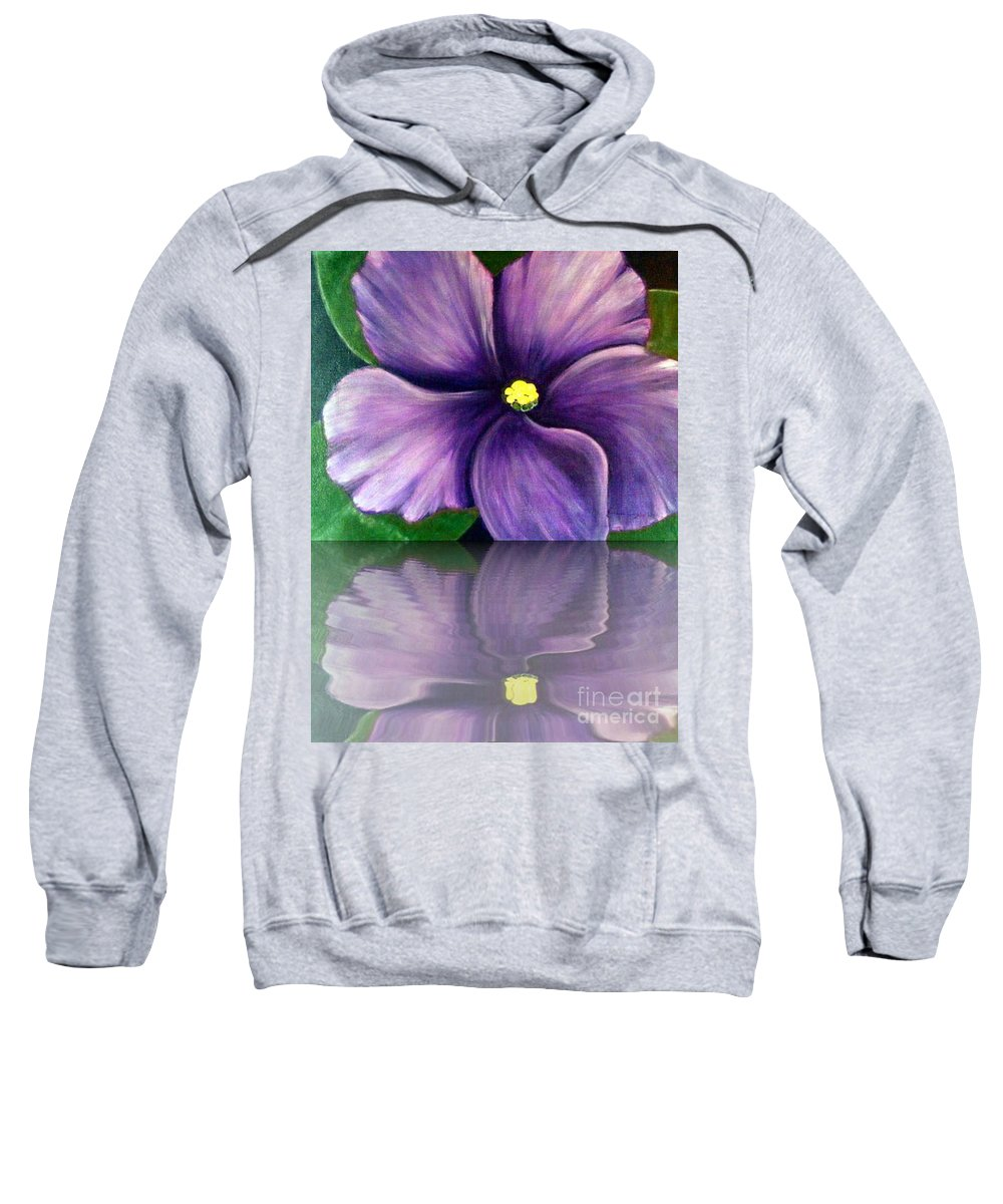 African Violet Sweatshirt featuring the digital art Watery African Violet Reflection by Barbara Griffin