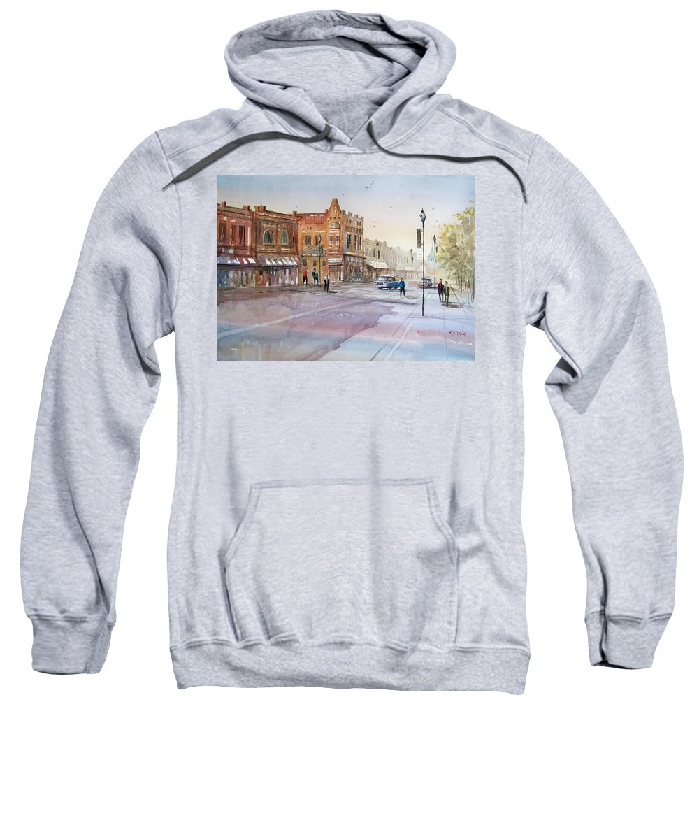 Watercolor Sweatshirt featuring the painting Waupaca - Main Street by Ryan Radke