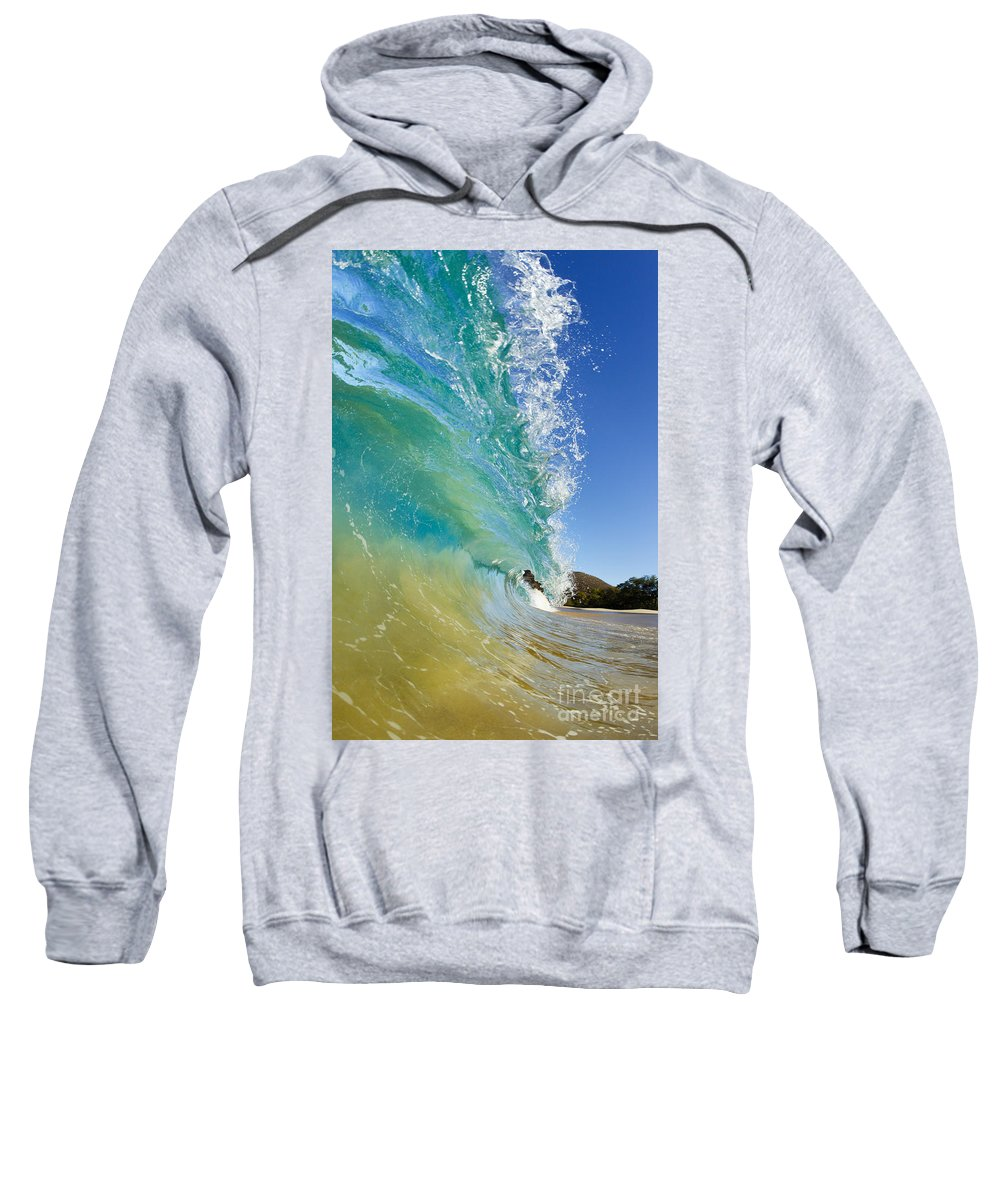 Aqua Sweatshirt featuring the photograph Wave Breaking At Makena by MakenaStockMedia
