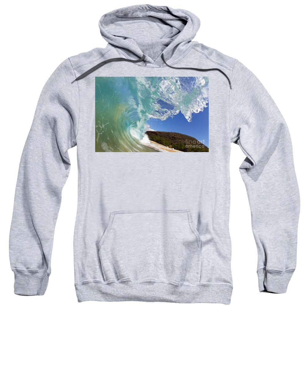Aqua Sweatshirt featuring the photograph Wave Breaking by MakenaStockMedia - Printscapes