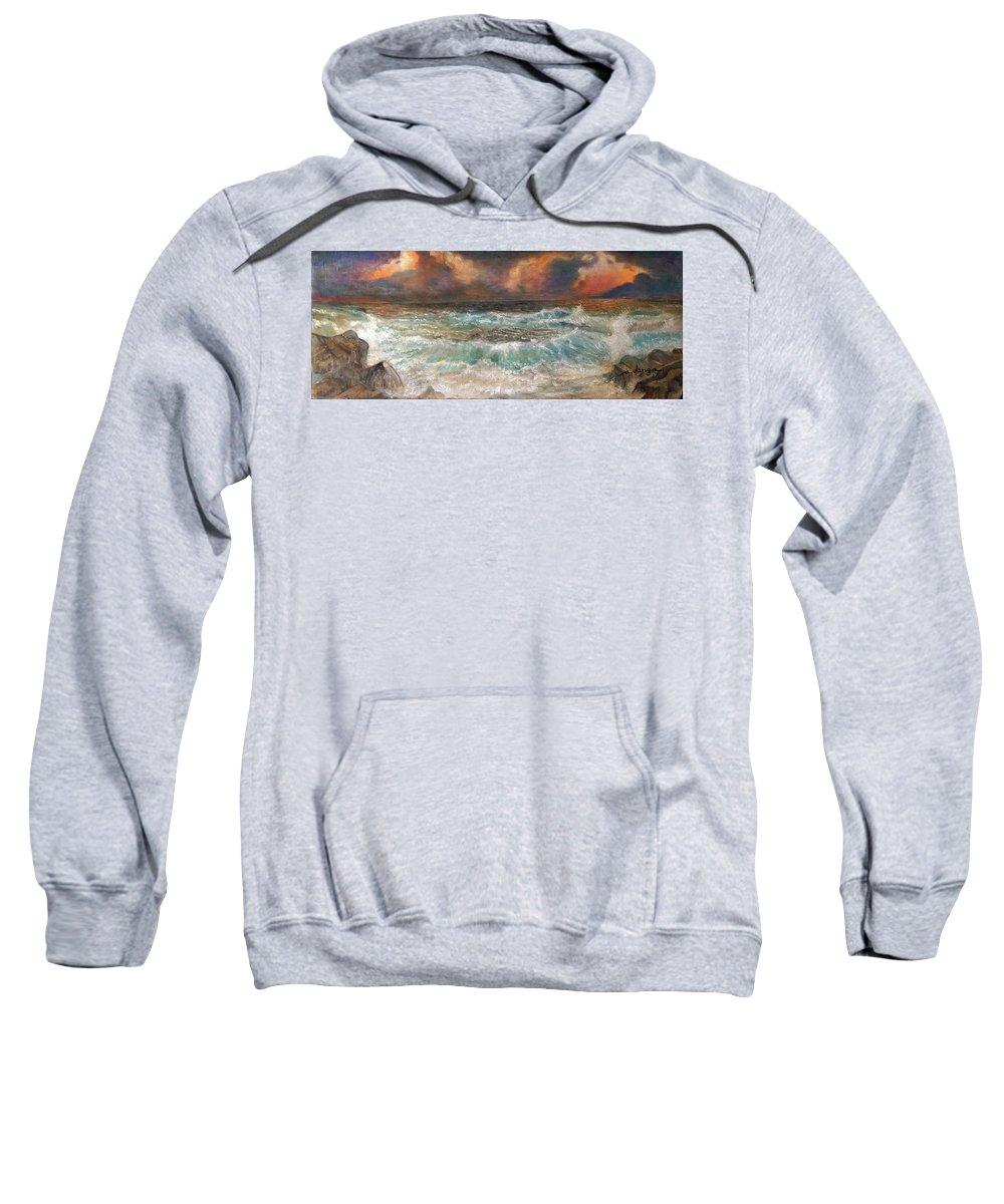 Sea Sweatshirt featuring the painting Waves 3 by Arnildo Danga