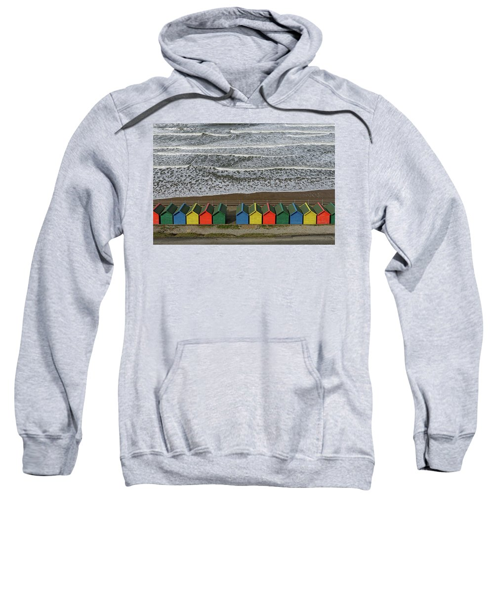 Britain Sweatshirt featuring the photograph Waves And Beach Huts - Whitby by Rod Johnson