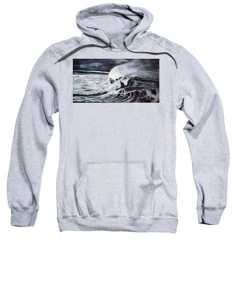 Waves Sweatshirt featuring the painting Waves At Night by Richard Le Page