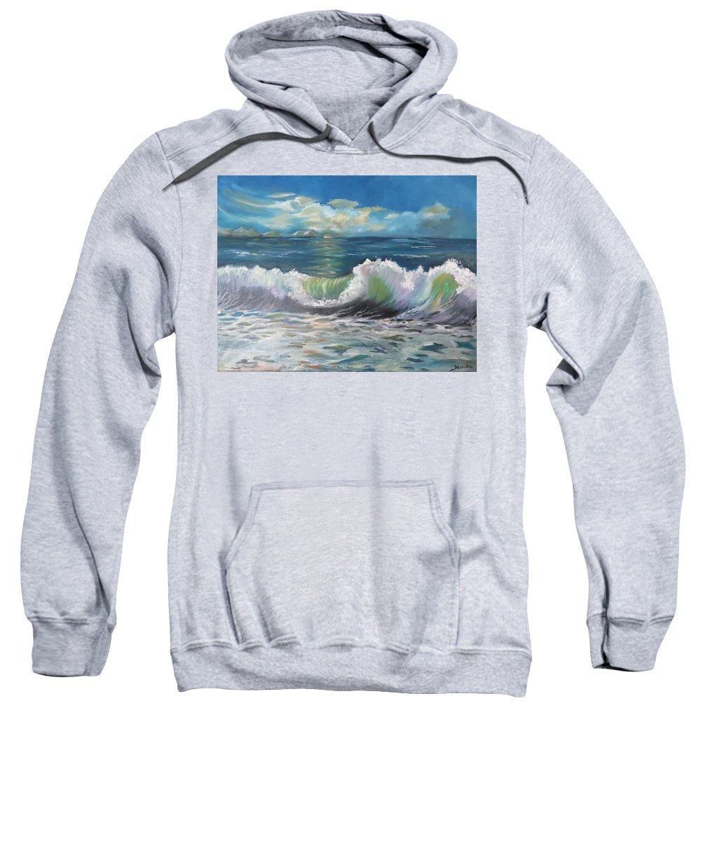 Oil Painting Sweatshirt featuring the painting Waves At Sunset by Maria Karlosak