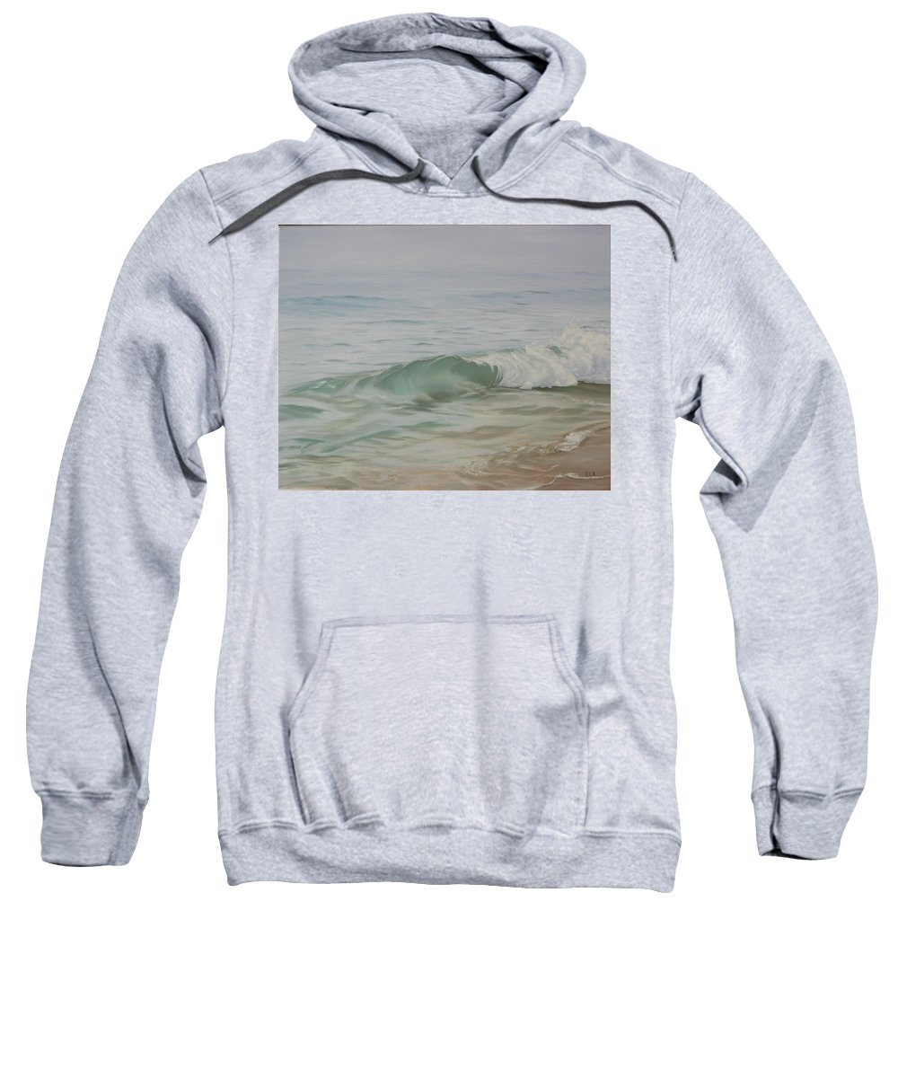 Seascape Sweatshirt featuring the painting Waves Out Of The Fog by Lea Novak