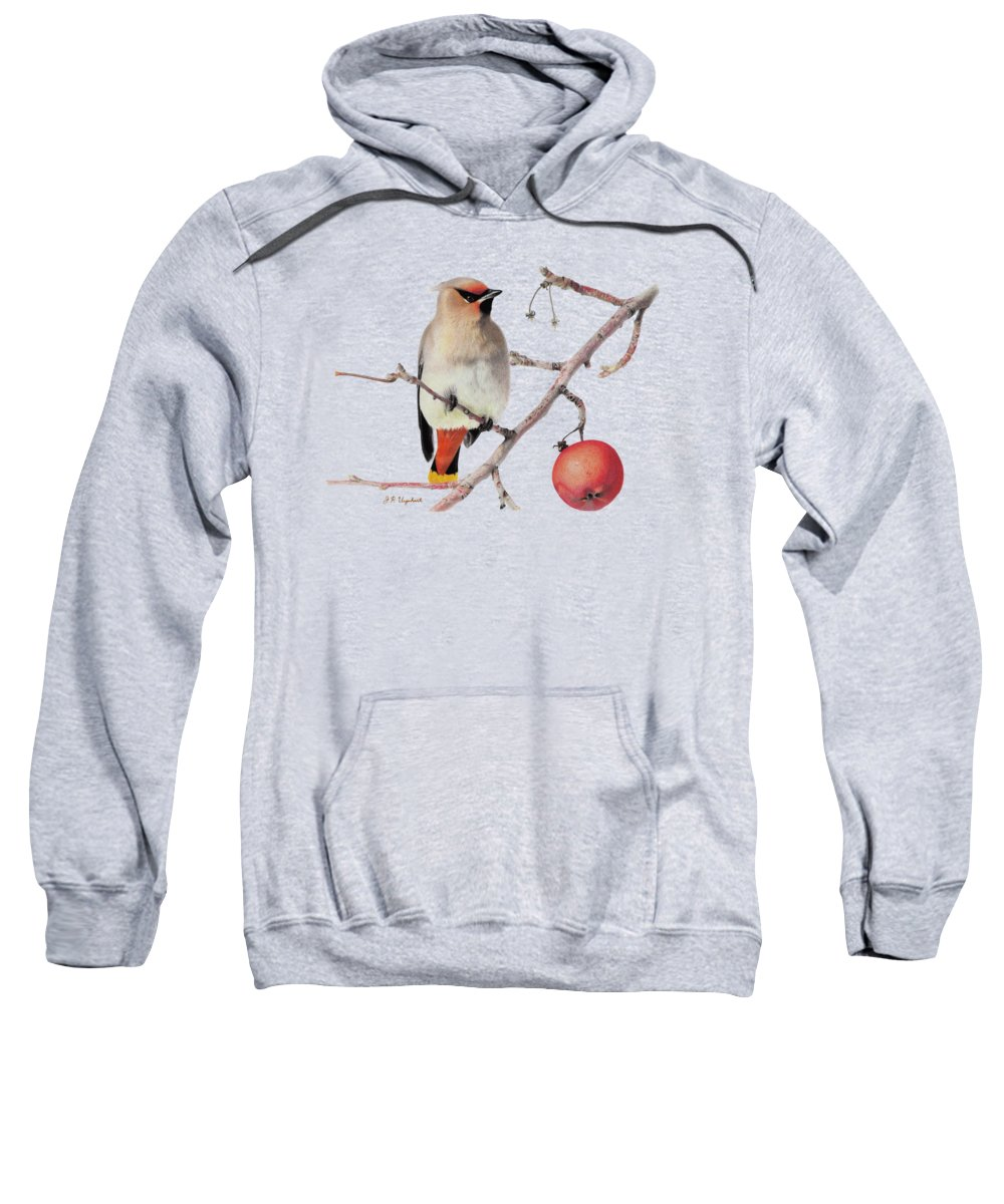 Waxwing Sweatshirt featuring the pastel Waxwing by J P Urquhart