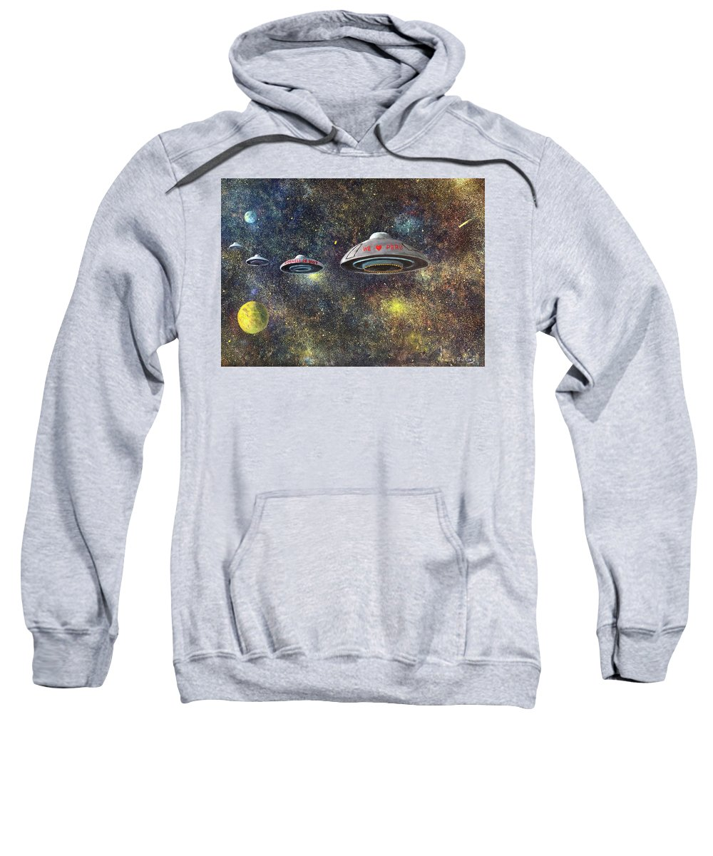 U.f.o Sweatshirt featuring the painting We Love Peru by Randy Burns
