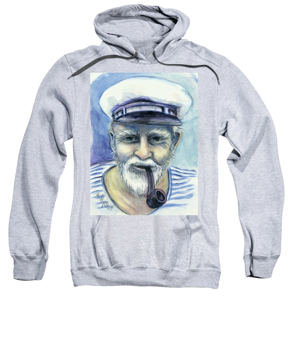 Deep Sweatshirt featuring the painting Weathered - He And His Memories... by Elisabeta Hermann