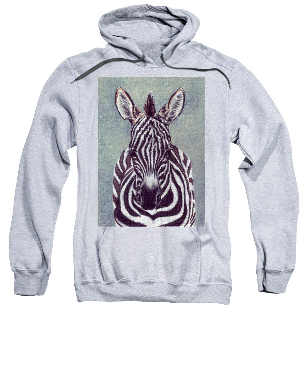 Zebra Sweatshirt featuring the drawing Wee Zeeb by Kristen Wesch