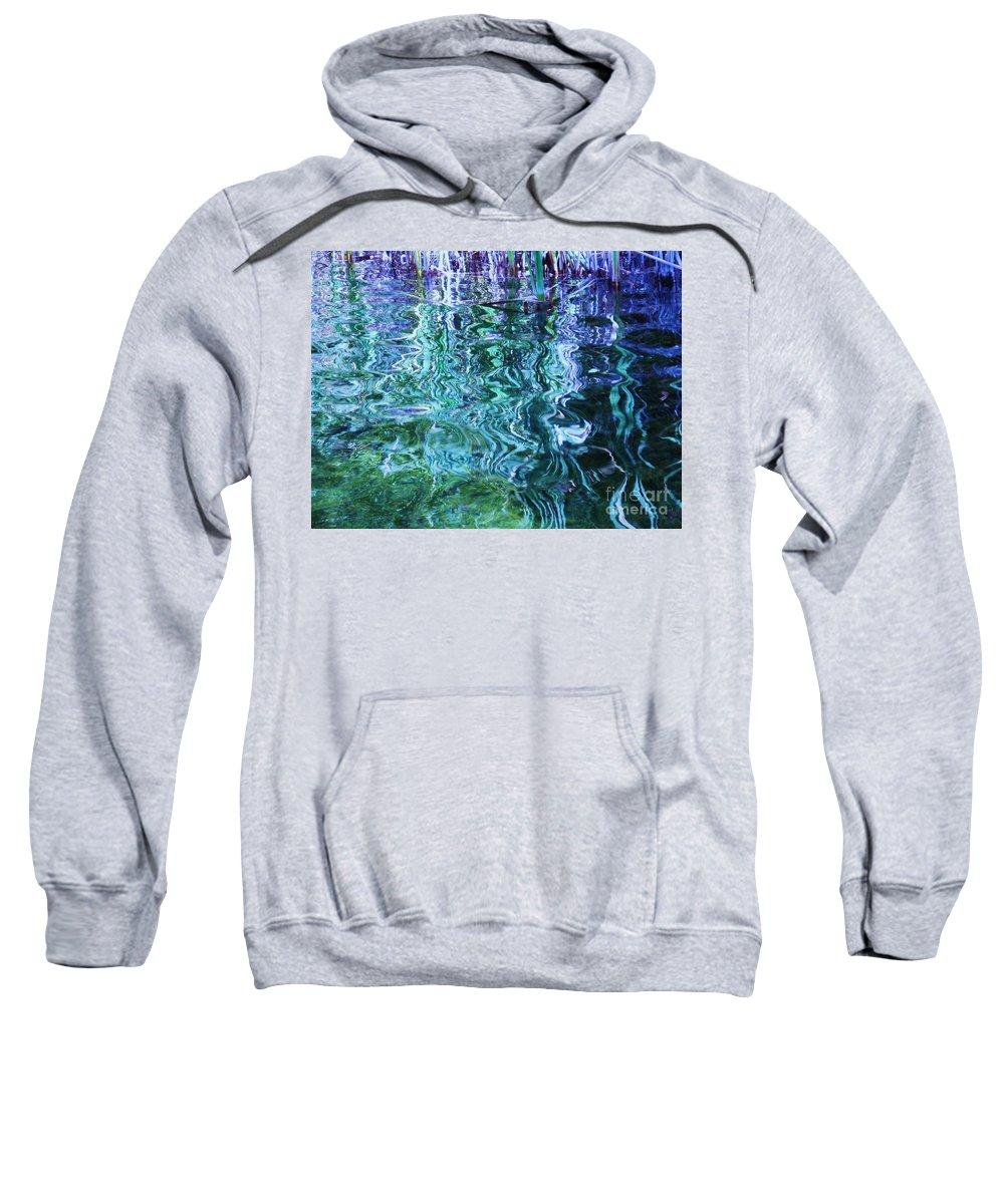 Photograph Blue Green Weed Shadow Lake Water Sweatshirt featuring the photograph Weed Shadows by Seon-Jeong Kim
