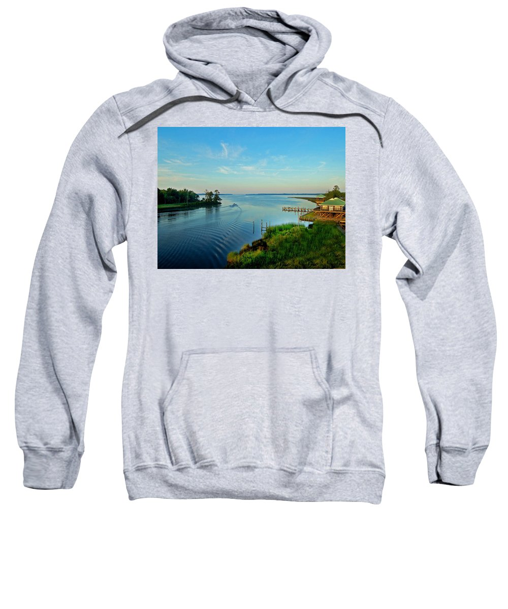 Weeks Bay Sweatshirt featuring the painting Weeks Bay Going Fishing by Michael Thomas