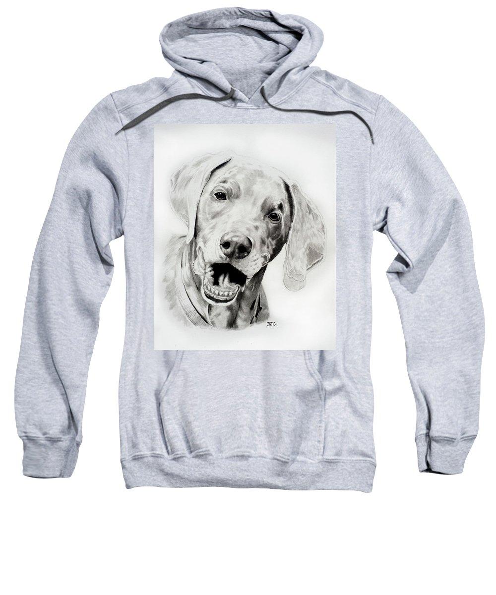 Weimaraner Sweatshirt featuring the drawing Weimaraner by Chris Randall