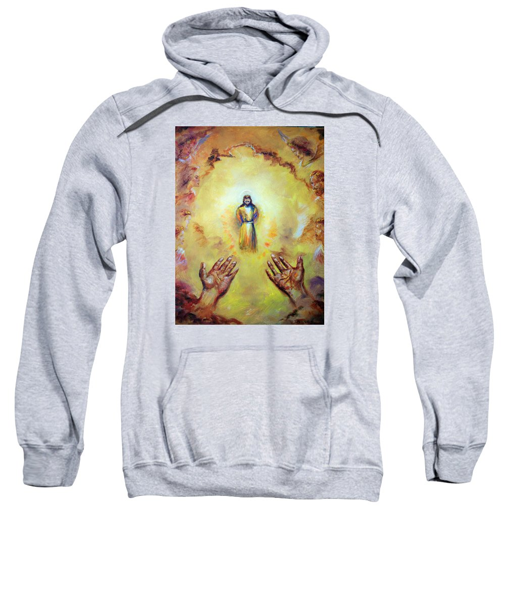 Jesus Christ Sweatshirt featuring the painting Welcome Home by Tommy Winn