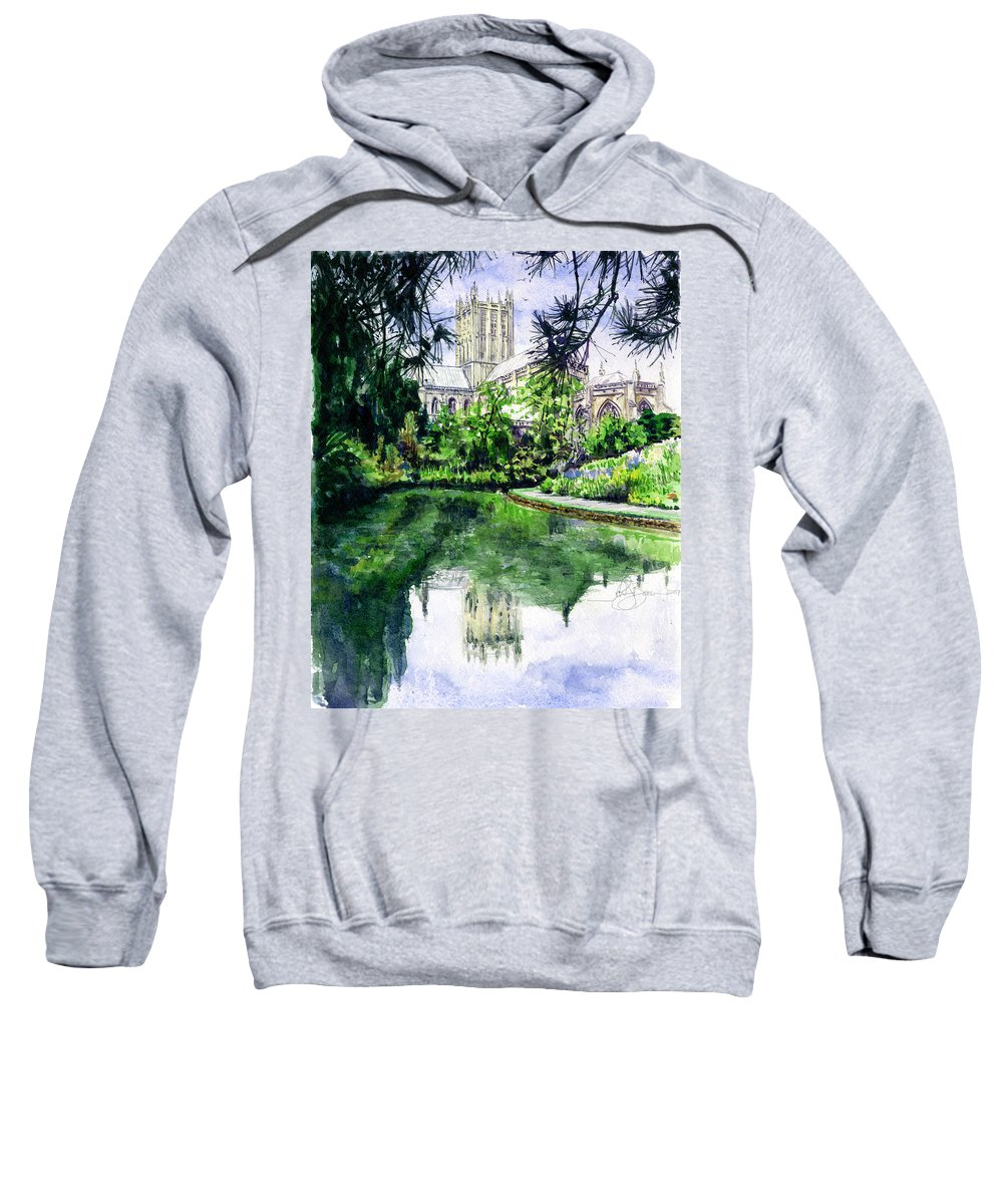 Wells Sweatshirt featuring the painting Wells Cathedral by John D Benson