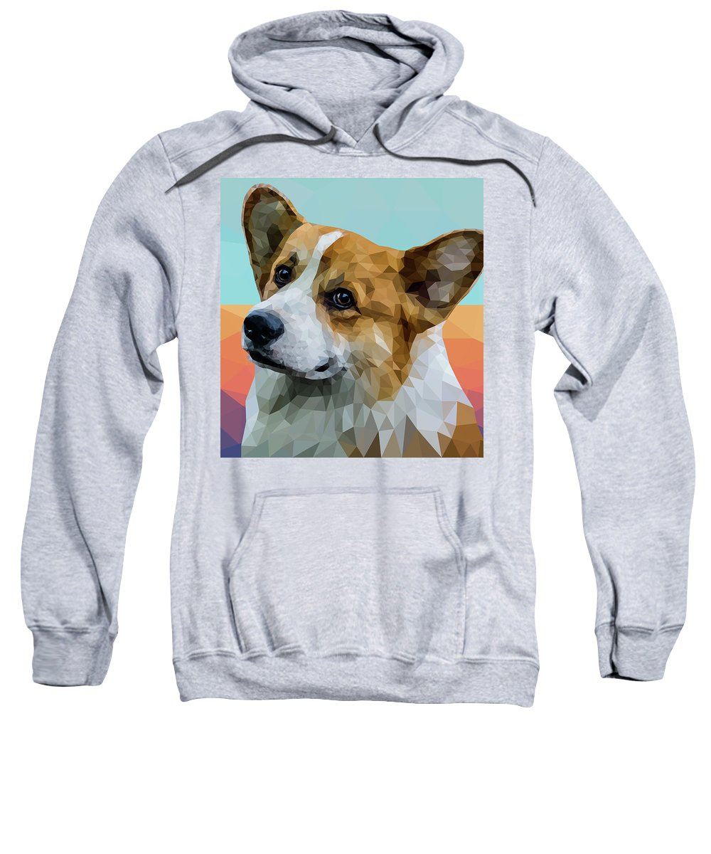 Welsh Corgi Sweatshirt featuring the digital art Welsh Corgi by Alexey Bazhan