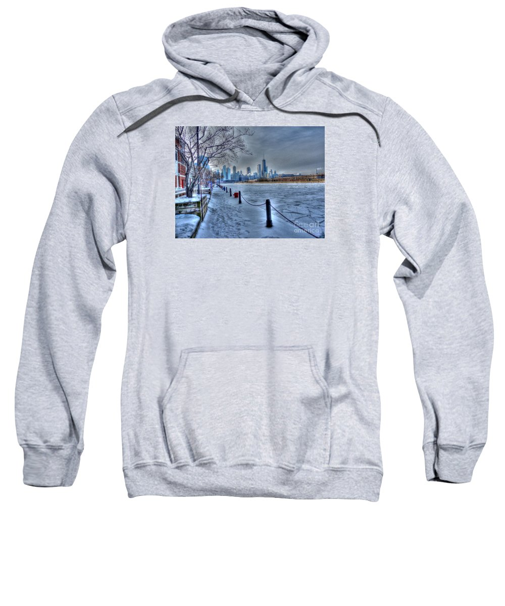 Chicago Illinois Sweatshirt featuring the photograph West From Navy Pier by David Bearden