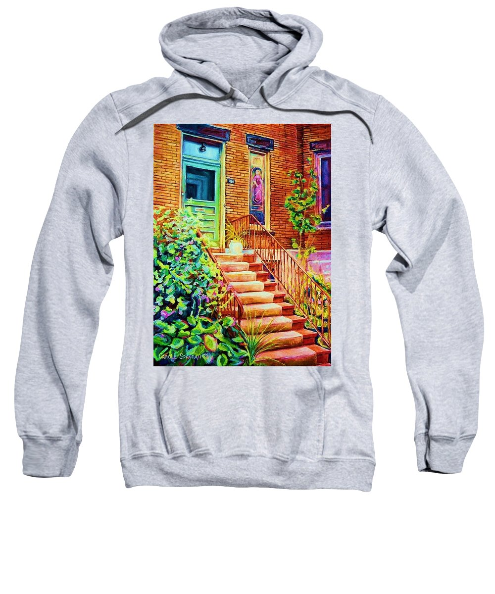 Westmount Home Sweatshirt featuring the painting Westmount Home by Carole Spandau