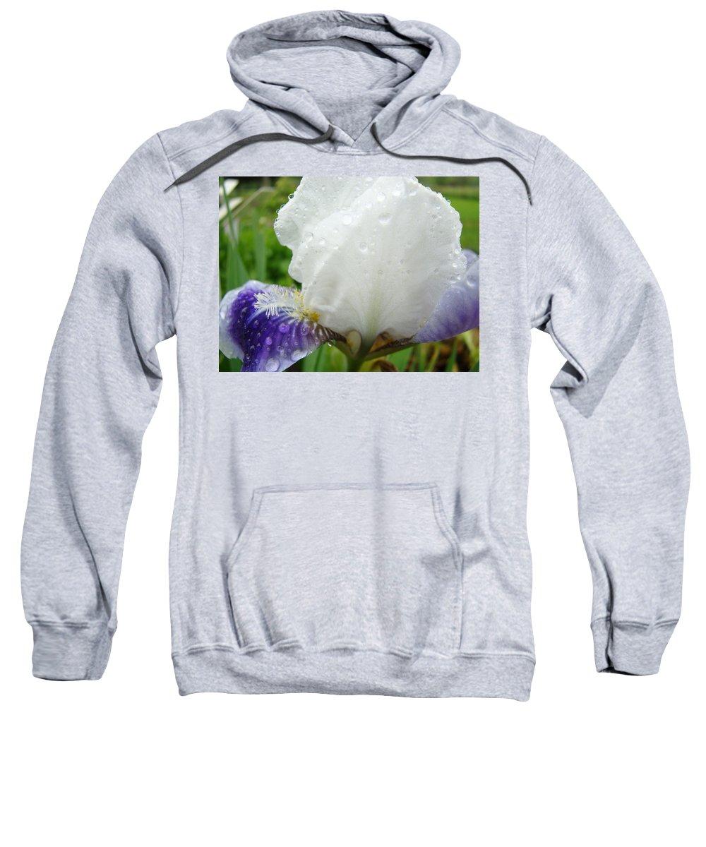 Iris Sweatshirt featuring the photograph Wet Flower Raindrops Art Iris Flower Spring Baslee Troutman by Baslee Troutman