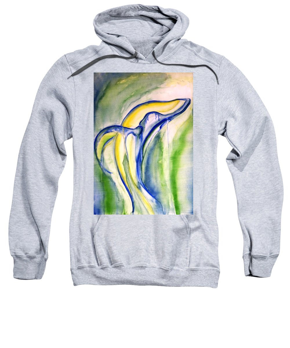 Watercolor Sweatshirt featuring the painting Whale by Sheridan Furrer