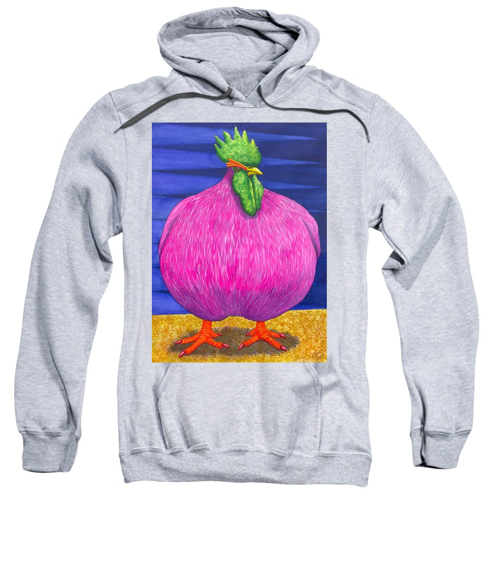 Rooster Sweatshirt featuring the painting What Are You Lookin At by Catherine G McElroy