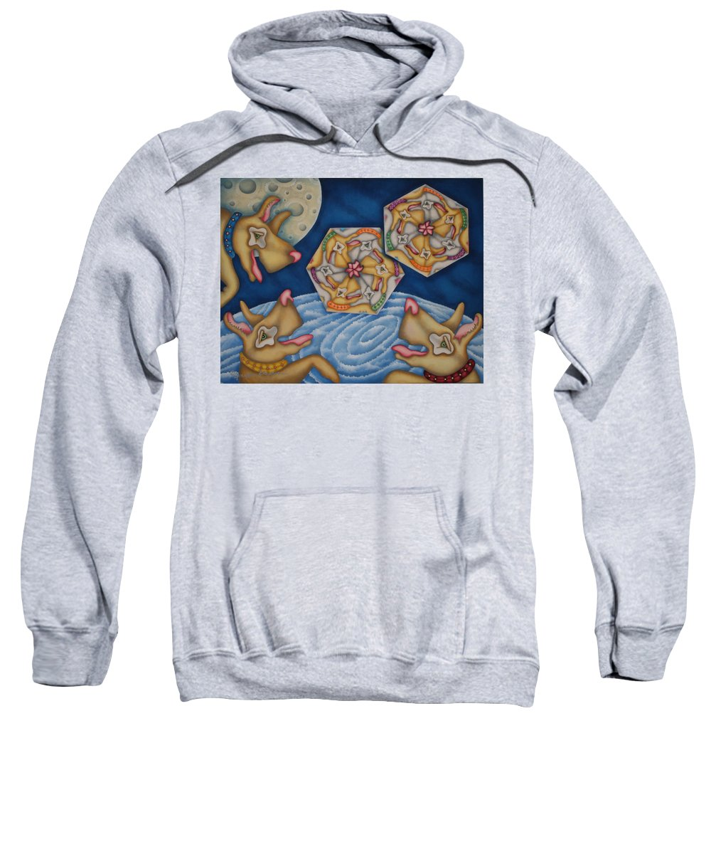 Dogs Sweatshirt featuring the painting What Dogs Dream by Jeniffer Stapher-Thomas