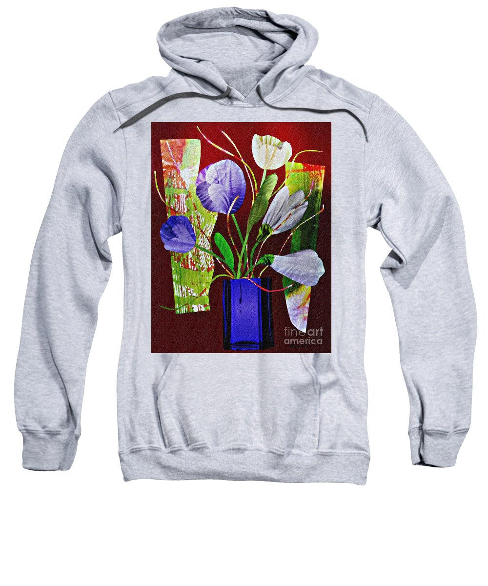 Floral Sweatshirt featuring the mixed media What Marie Left Behind by Sarah Loft