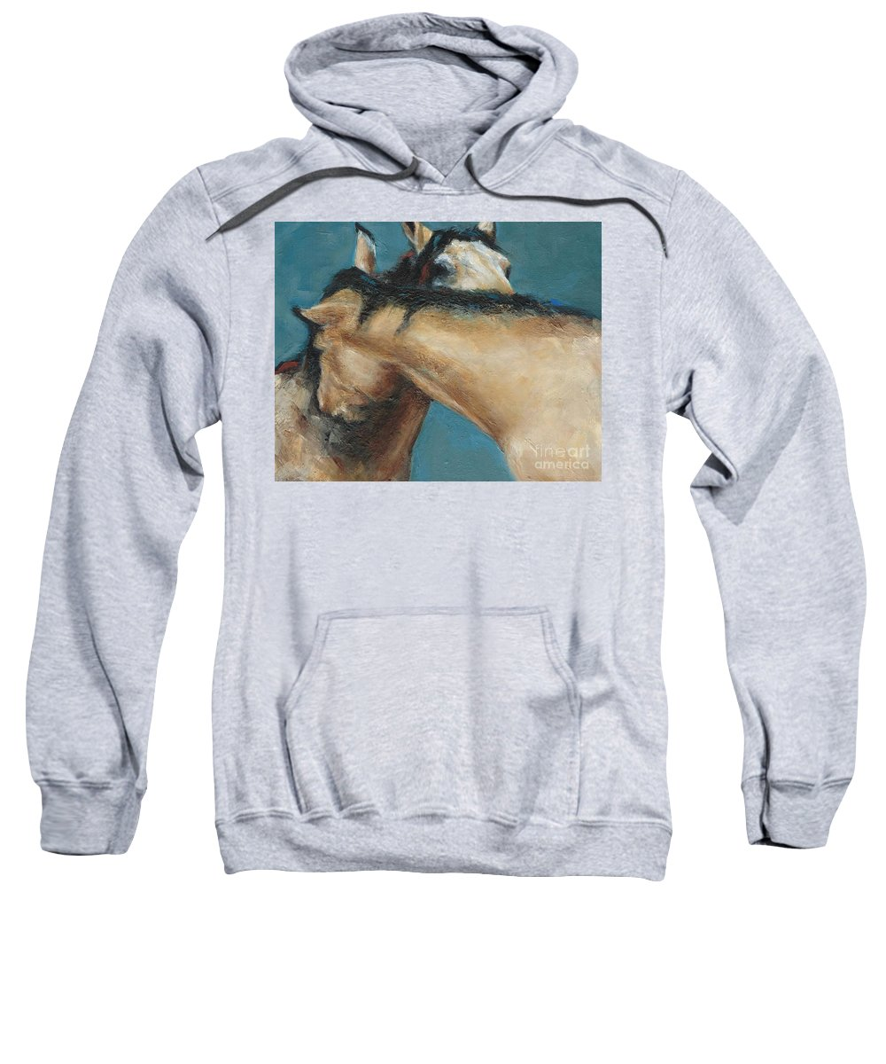 Horses Sweatshirt featuring the painting What We Can All Use A Little Of by Frances Marino