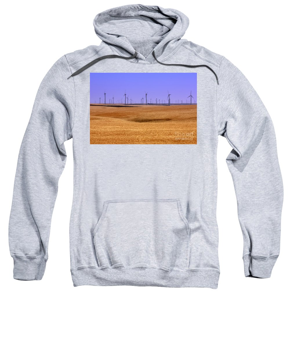 Wind Turbines Sweatshirt featuring the photograph Wheat Fields And Wind Turbines by Carol Groenen