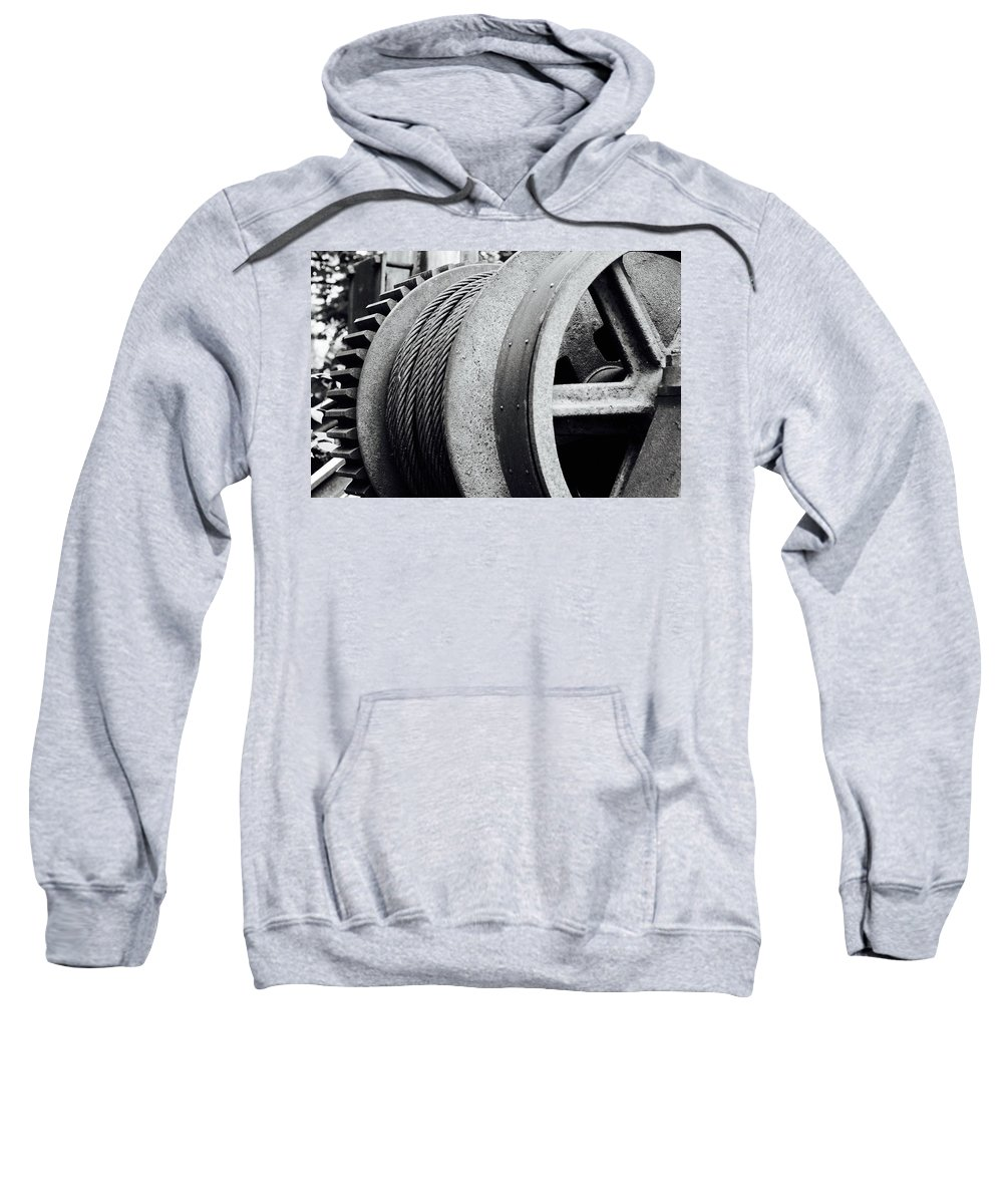 Industrial Sweatshirt featuring the photograph Wheels And Pulleys by Phil Cappiali Jr