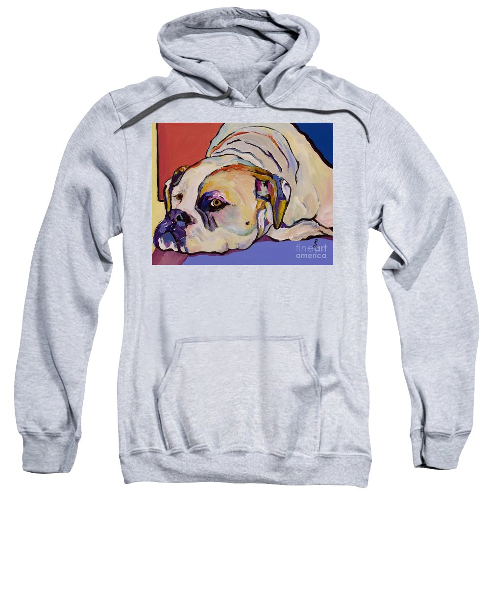 American Bulldog Sweatshirt featuring the painting Where Is My Dinner by Pat Saunders-White