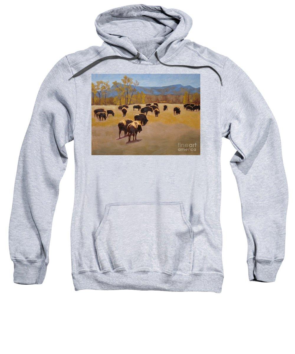 Buffalo Sweatshirt featuring the painting Where The Buffalo Roam by Tate Hamilton