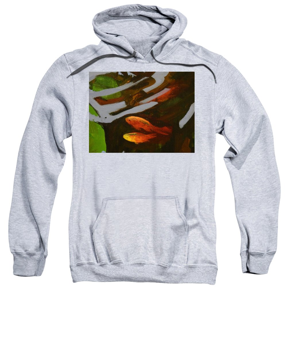 Fish Fishpond Gold Goldfish Water Reflections Yellow Red Green Pattern Dark Light Swim Swimming Peaceful Quiet Play Comets Sweatshirt featuring the painting Where The Comets Play by Catherine Robertson